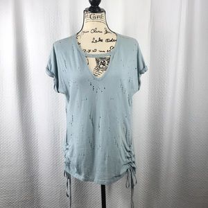 She & Sky Rolled Sleeve Distressed Blouse Medium